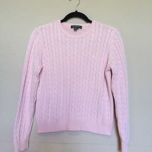 Lauren Ralph Lauren pink cable knit sweater Sz S